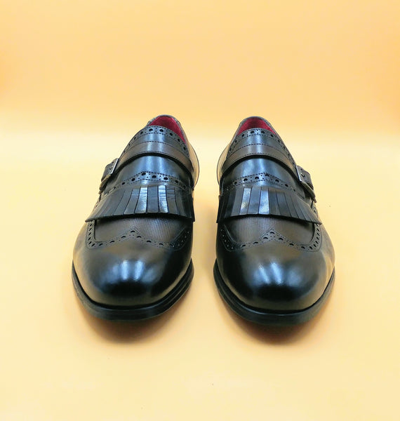 Black - Brown Monk Strap