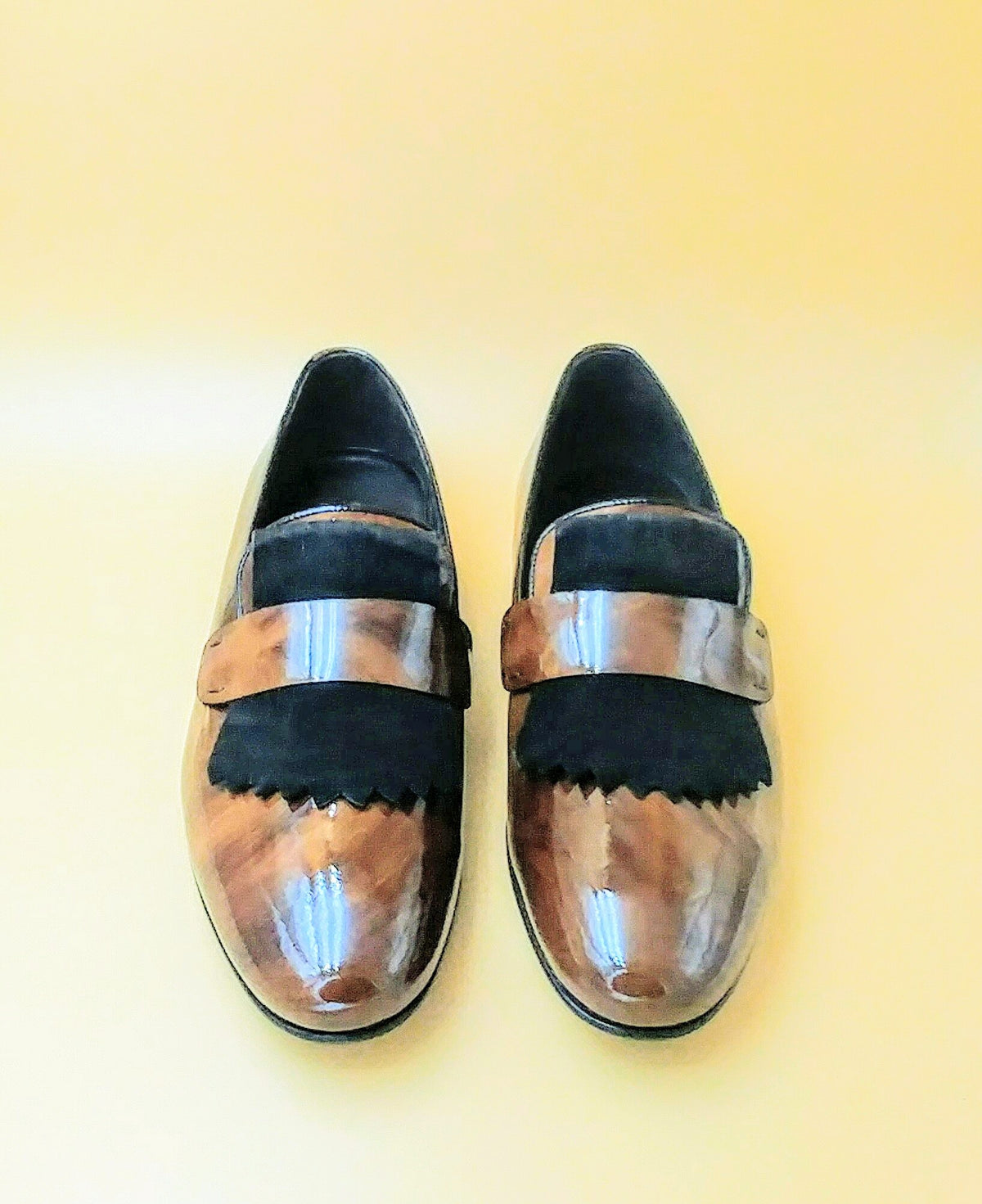 Brown Exquisite Patent Slip-ons