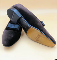 Brown Bow Velvet Loafers
