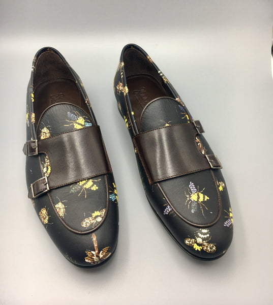 Brown Bee Monk-straps Loafers