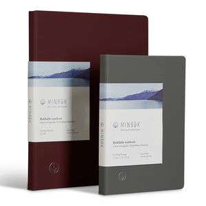 Minbøk burgundy extra-large refillable notebook + grey large refillable notebook