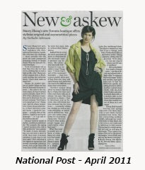 Stacey Zhang in the National Post - April 30th, 2011