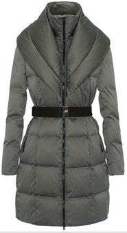 ceinturé col haut en bas du manteau/belted high neck down coat