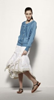 Full length cotton skirt w/ multi layer lace / Jupe ample longueur de coton avec dentelle