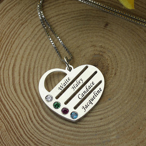 Family Custom Necklace With Birthstone