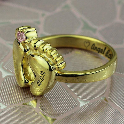 Buy Engraved Baby Birthstone Date Ring From Joseod Jewelry