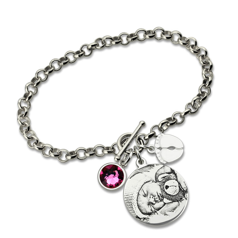 Buy Photo Engraved Bracelet With Baby Feet + Birthstone From Joseod Jewelry