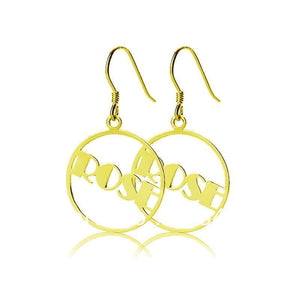 Round Drop Gold Plated Name Earrings