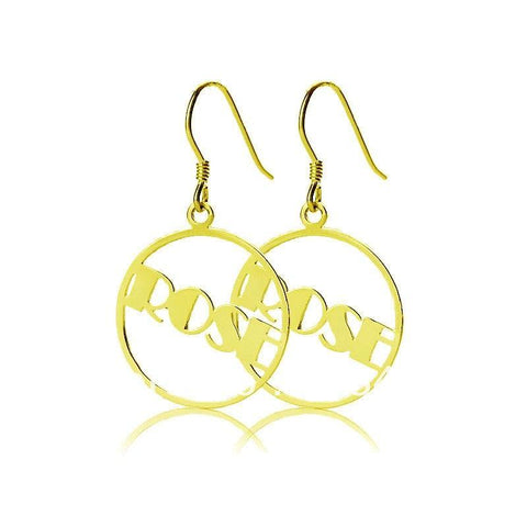 Buy Round Drop Gold Plated Name Earrings From Joseod Jewelry