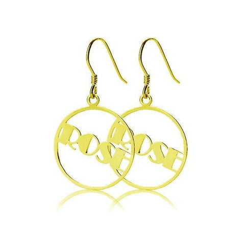 Image of Round Drop Gold Plated Name Earrings