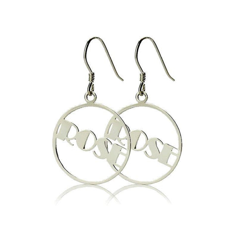 Buy Personalized Round Drop Name Earring From Joseod Jewelry