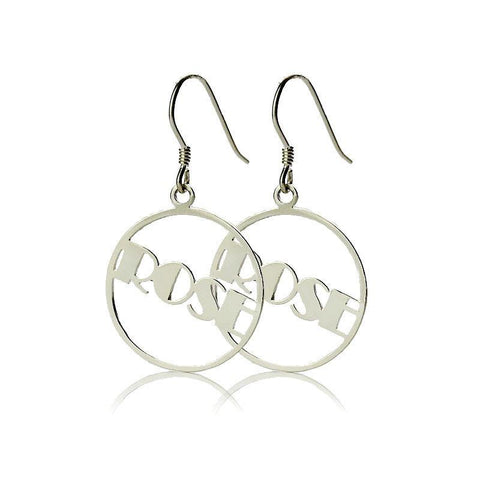 Personalized Round Drop Name Earring
