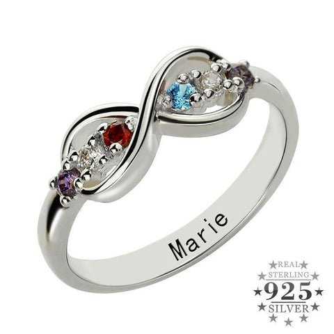 Image of Shop Customized Text Infinity Birthstone Rings From Joseod Jewelry