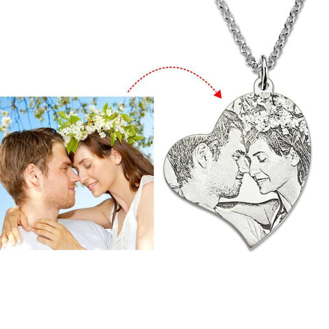 Shop Custom Gift Heart Shaped Photo Necklace From Joseod Jewelry