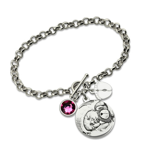 Shop Photo Engraved Bracelet With Baby Feet + Birthstone From Joseod Jewelry