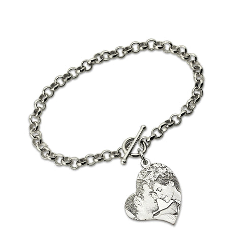 Image of Shop Personalized Heart Photo Couple Bracelet From Joseod Jewelry