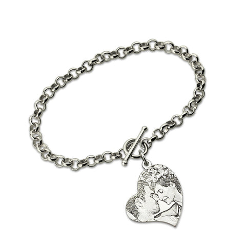 Shop Personalized Heart Photo Couple Bracelet From Joseod Jewelry