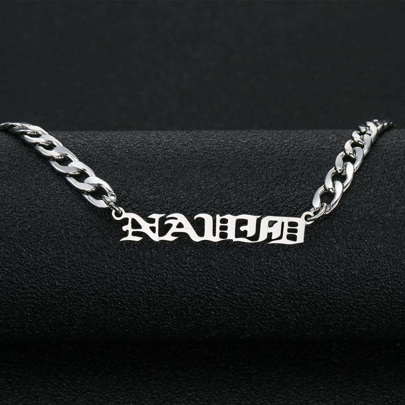 Shop Custom Old English Name Necklace - Curb Chain From Joseod Jewelry