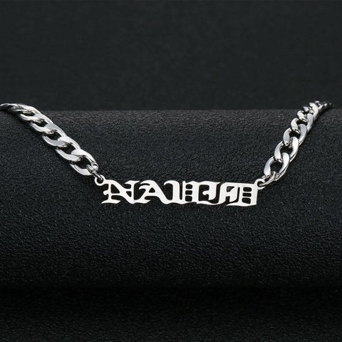 Buy Custom Old English Name Necklace - Curb Chain From Joseod Jewelry