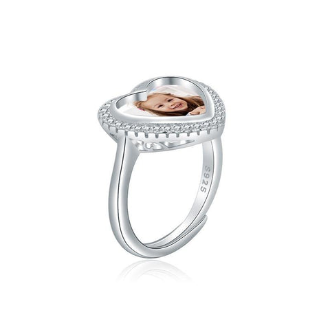 Shop Custom Heart Shaped Photo Ring In Sterling Silver From Joseod Jewelry