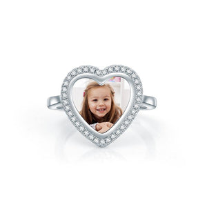Custom Heart Shaped Photo Ring In Sterling Silver