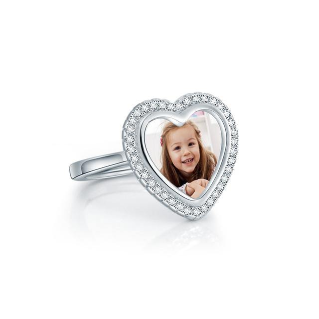 Buy Custom Heart Shaped Photo Ring In Sterling Silver From Joseod Jewelry