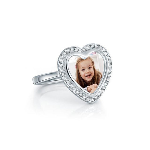 Image of Buy Custom Heart Shaped Photo Ring In Sterling Silver From Joseod Jewelry