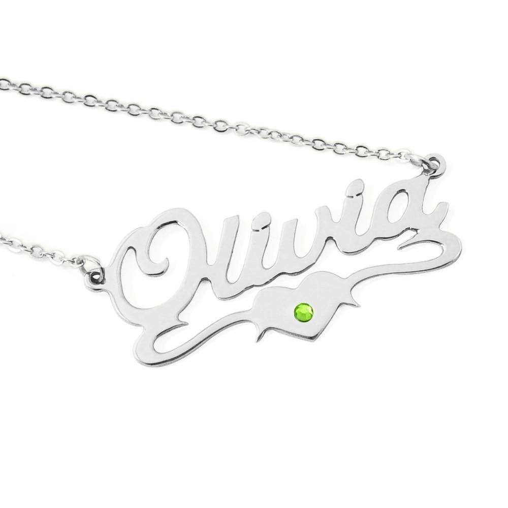 Buy Custom Nameplate With Heart BirthStone From Joseod Jewelry