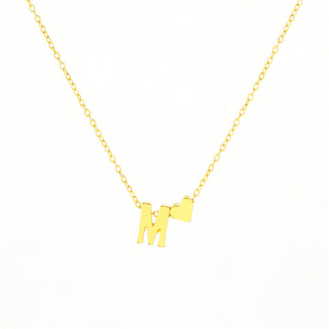 Image of Buy First Name Initial With Heart Name Necklace From Joseod Jewelry