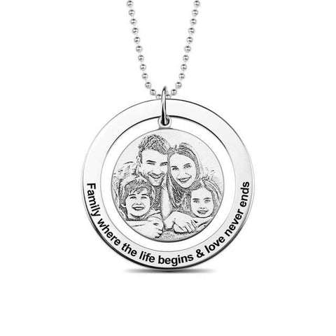 Shop Custom Engraved Circle Photo Necklace From Joseod Jewelry