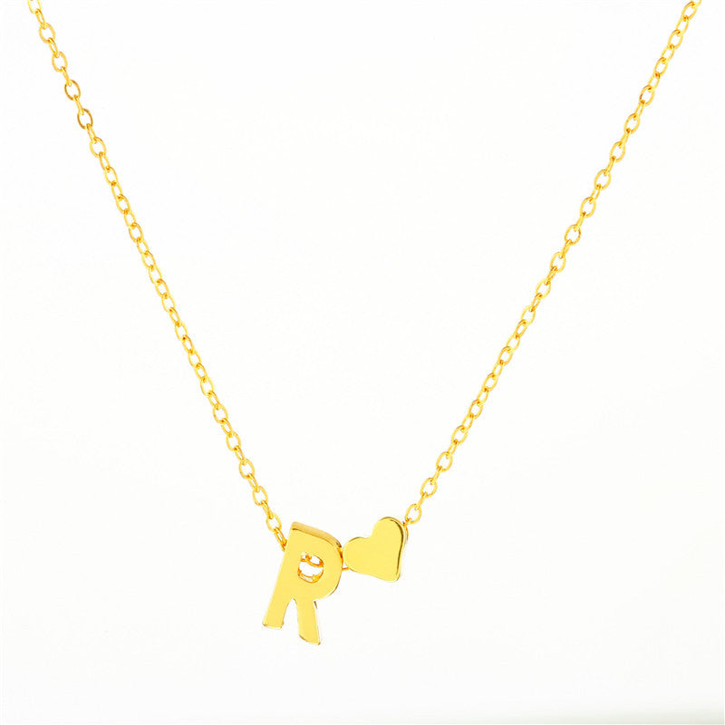 Buy First Name Initial With Heart Name Necklace From Joseod Jewelry