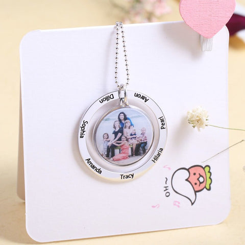 Shop Engraved Family Circle Photo Necklace From Joseod Jewelry