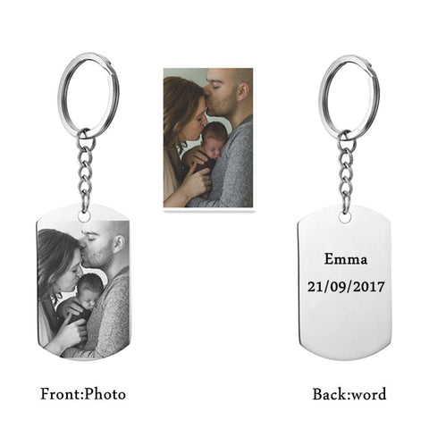 Image of Shop Personalized DIY Tag Photo Keychain From Joseod Jewelry