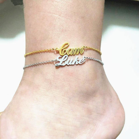 Image of Shop Custom Name Foot Anklet Bracelets From Joseod Jewelry