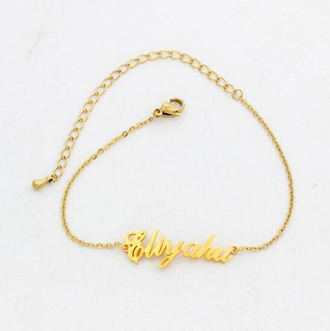 Image of Buy Personalized Vertical Name Anklets From Joseod Jewelry