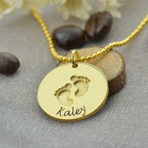 Image of Engraved Baby Feet Disc Pendant