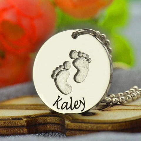 Image of Buy Engraved Baby Feet Disc Pendant From Joseod Jewelry