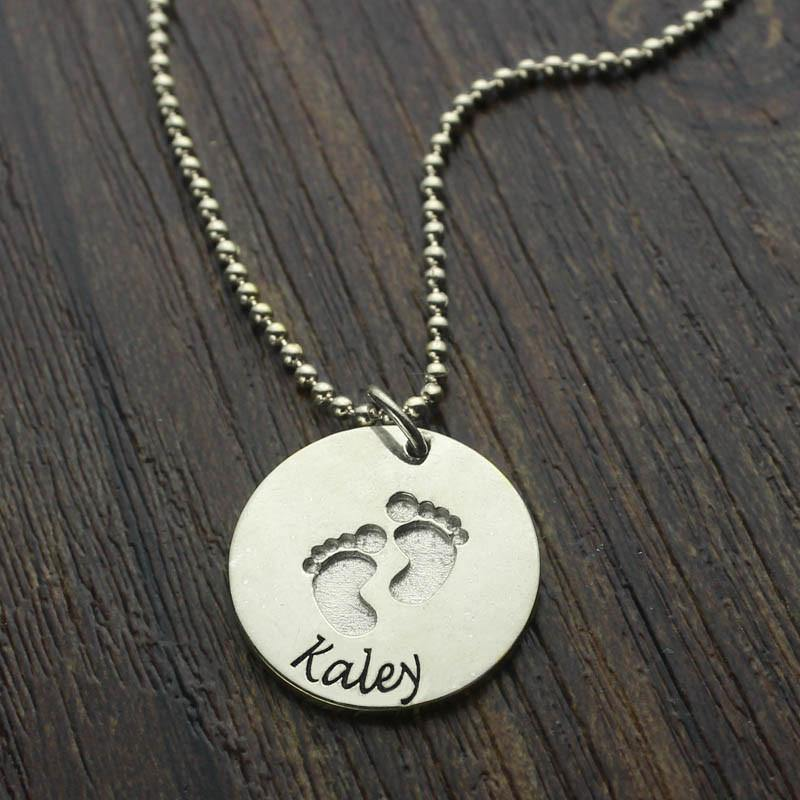 Engraved Baby Feet Disc Pendant