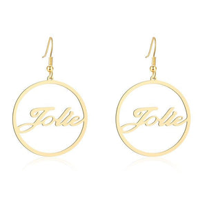Personalized Round Cursive Name Earrings