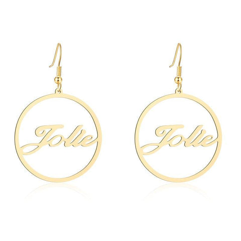 Buy Personalized Round Cursive Name Earrings From Joseod Jewelry