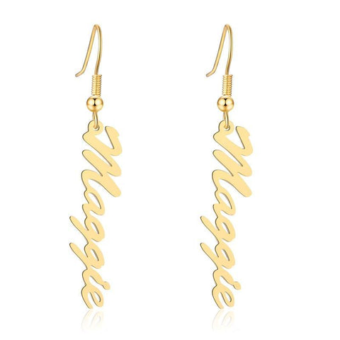 Buy Custom Vertical Name Earring From Joseod Jewelry