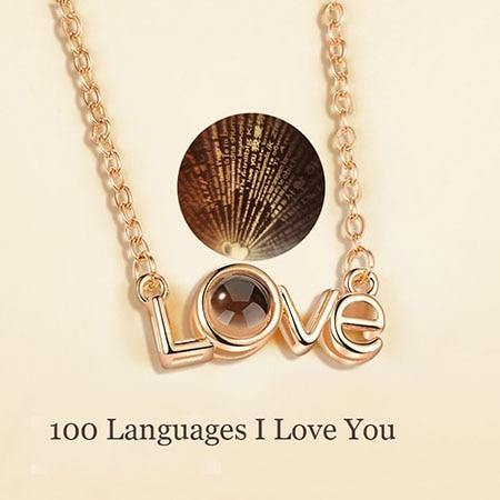 Sterling Silver 100 Language Love Necklace