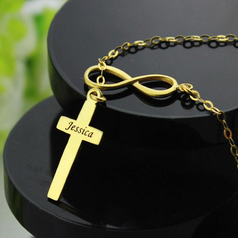 Shop Custom Name Cross Infinity Necklace From Joseod Jewelry