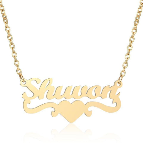 Buy Stainless Steel Custom Name With Heart From Joseod Jewelry