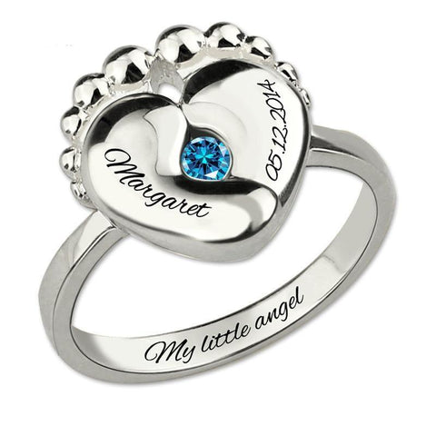Image of Engravable Baby Feet Ring + Birthstone