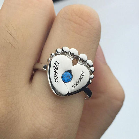 Buy Engravable Baby Feet Ring + Birthstone From Joseod Jewelry