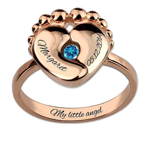 Image of Buy Engravable Baby Feet Ring + Birthstone From Joseod Jewelry