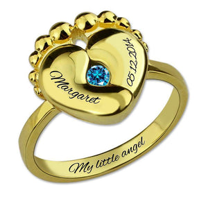 Engravable Baby Feet Ring + Birthstone