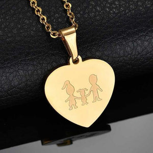 Family Pendant Heart Engraved Necklace
