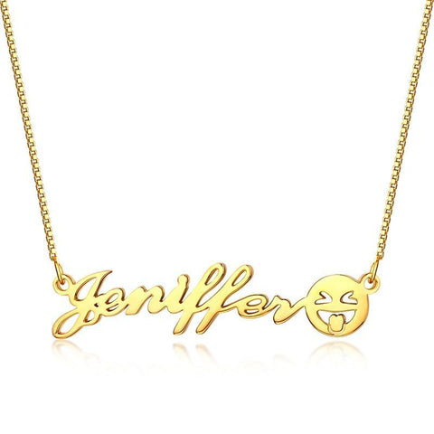 Image of Buy Custom Name Necklace With Emoji Face From Joseod Jewelry